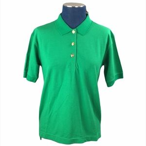 Lily Pulitzer Green Polo Gold Tone Buttons Top